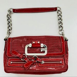 Guess Handbag Red Patent Vegan Leather G Logo